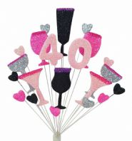 Cocktails 40th birthday cake topper decoration in pinks, black and silver - free postage